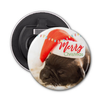 Cute Puppy Pug in a Red Santa Hat Christmas Bottle Opener