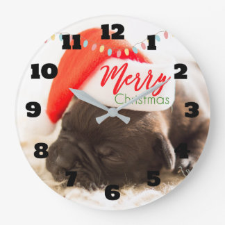 Cute Puppy Pug in a Red Santa Hat Christmas Large Clock