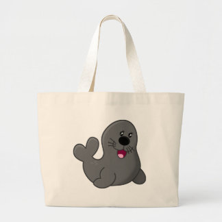 Cute puppy seal large tote bag
