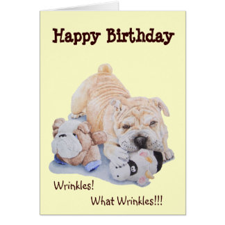 Cute puppy shar pei dog and teddy funny birthday card