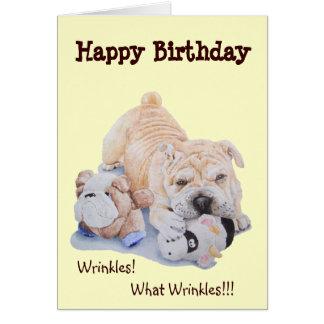 Cute puppy shar pei dog and teddy funny birthday greeting card