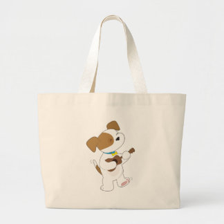 Cute Puppy Ukulele Large Tote Bag