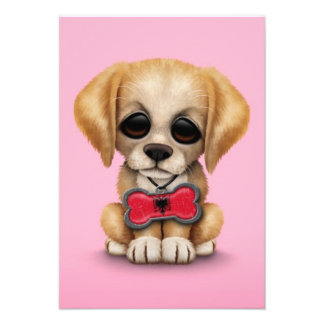 Cute Puppy with Albanian Flag Pet Tag, Pink Custom Announcement