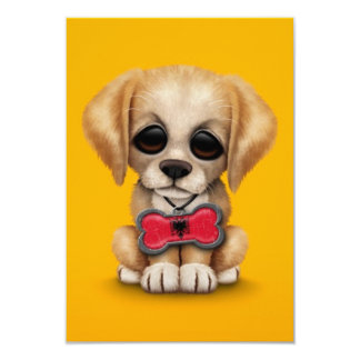 "Cute Puppy with Albanian Flag Pet Tag, yellow 3.5"" X 5"" Invitation Card"