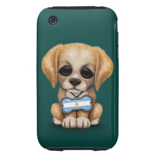 Cute Puppy with Argentinian Flag Dog Tag teal iPhone 3 Tough Case