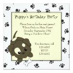"""Cute Puppy with Bone 5.25"""" Square Invitation Card"""