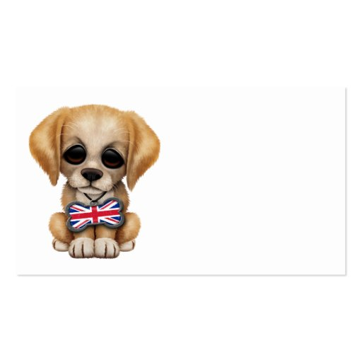 Cute Puppy with British Flag Pet Tag Business Card Templates
