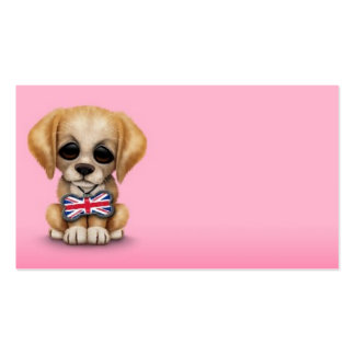 Cute Puppy with British Flag Pet Tag, Pink Business Card