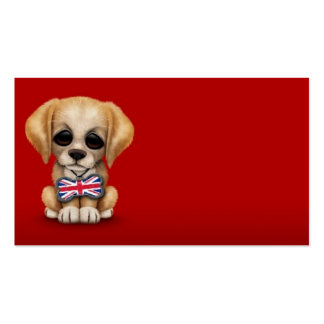 Cute Puppy with British Flag Pet Tag, Red Business Card Template