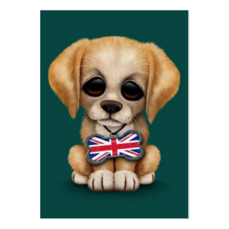 Cute Puppy with British Flag Pet Tag, Teal Blue Business Card