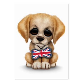 Cute Puppy with British Flag Pet Tag, White Business Card Templates