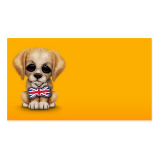 Cute Puppy with British Flag Pet Tag, Yellow Business Card