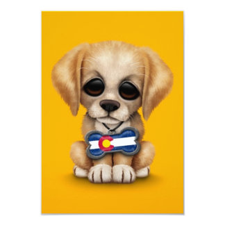 "Cute Puppy with Colorado Flag Dog Tag, yellow 3.5"" X 5"" Invitation Card"
