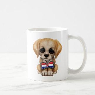 Cute Puppy with Croatian Flag Dog Tag Coffee Mug