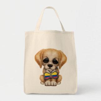 Cute Puppy with Ecuadorian Flag Dog Tag Tote Bag
