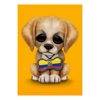Cute Puppy with Ecuadorian Flag Dog Tag, yellow Pack Of Chubby Business Cards