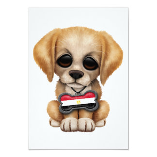 Cute Puppy with Egyptian Flag Dog Tag Personalized Invites