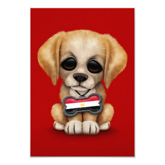 Cute Puppy with Egyptian Flag Dog Tag, red Custom Invite