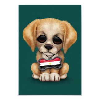 Cute Puppy with Egyptian Flag Dog Tag, teal Custom Announcements
