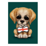 Cute Puppy with English Flag Dog Tag, teal Business Cards