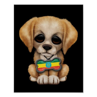 Cute Puppy with Ethiopian Flag Dog Tag black Poster