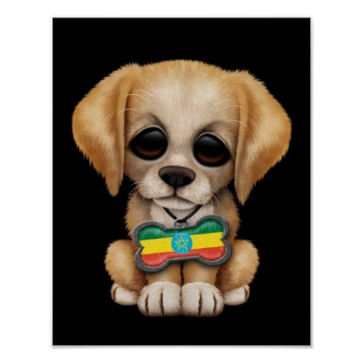 Cute Puppy with Ethiopian Flag Dog Tag, black Poster