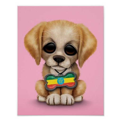Cute Puppy with Ethiopian Flag Dog Tag, pink Print