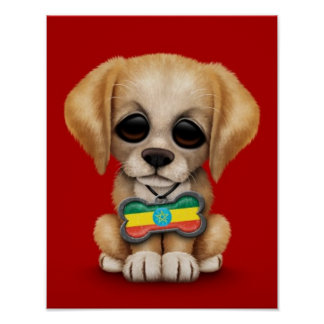 Cute Puppy with Ethiopian Flag Dog Tag red Poster