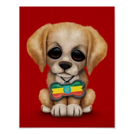 Cute Puppy with Ethiopian Flag Dog Tag, red Poster