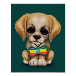 Cute Puppy with Ethiopian Flag Dog Tag, teal Print