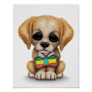 Cute Puppy with Ethiopian Flag Dog Tag white Print