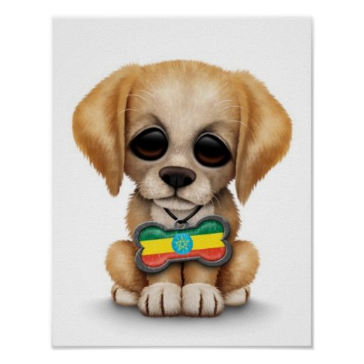 Cute Puppy with Ethiopian Flag Dog Tag, white Print