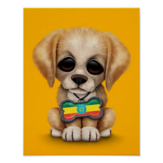 Cute Puppy with Ethiopian Flag Dog Tag yellow Poster
