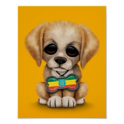 Cute Puppy with Ethiopian Flag Dog Tag, yellow Poster