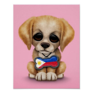 Cute Puppy with Filipino Flag Dog Tag pink Posters