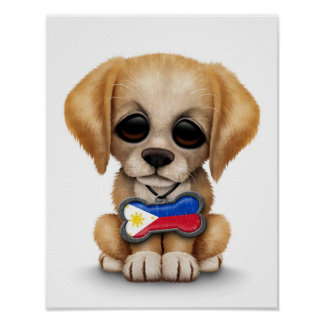 Cute Puppy with Filipino Flag Dog Tag white Posters