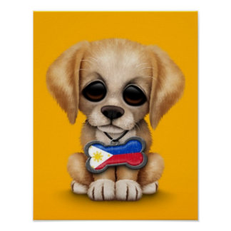 Cute Puppy with Filipino Flag Dog Tag yellow Print