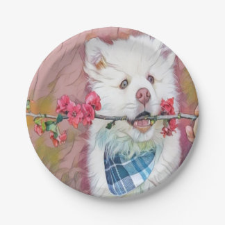 cute puppy with floral branch paper plate