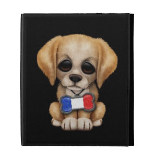 Cute Puppy with French Flag Pet Tag, Black iPad Folio Covers