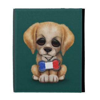 Cute Puppy with French Flag Pet Tag, Teal Blue iPad Folio Case