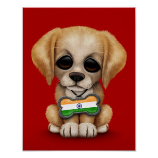 Cute Puppy with Indian Flag Dog Tag red Print