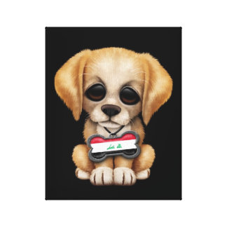 Cute Puppy with Iraqi Flag Dog Tag, black Gallery Wrap Canvas