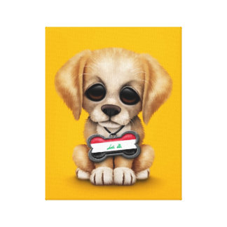 Cute Puppy with Iraqi Flag Dog Tag, yellow Canvas Print