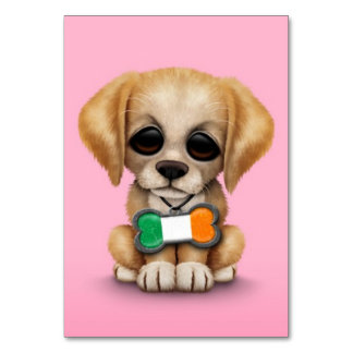 Cute Puppy with Irish Flag Pet Tag Pink Table Cards