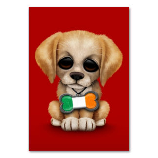 Cute Puppy with Irish Flag Pet Tag Red Table Card