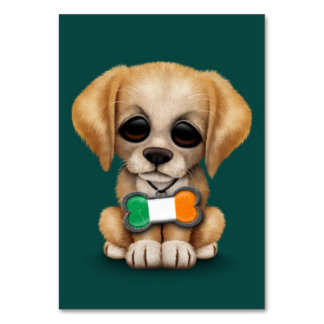 Cute Puppy with Irish Flag Pet Tag Teal Table Card