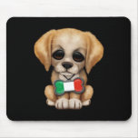 Cute Puppy with Italian Flag Pet Tag, Black Mouse Pad