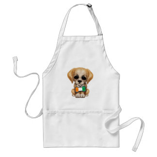 Cute Puppy with Ivory Coast Flag Pet Tag Adult Apron