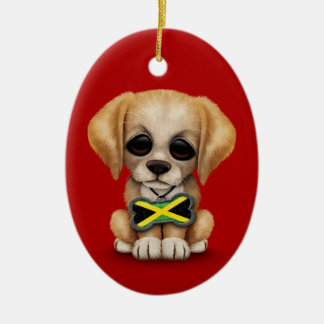 Cute Puppy with Jamaican Flag Dog Tag, red Christmas Ornament