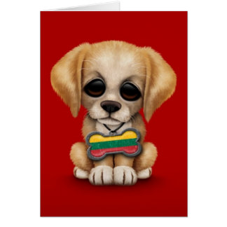 Cute Puppy with Lithuanian Flag Dog Tag, red Greeting Card